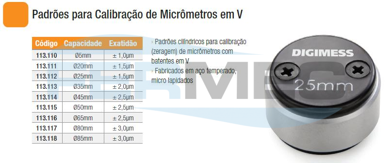 Padrões para Calibração de Micrômetros em V