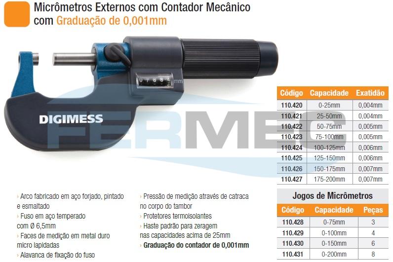 Micrômetros Externos com Contador Mecânico com Graduação de 0,001mm