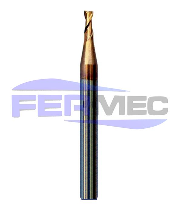 Fresa Topo Reto de Metal Duro Micro Diâmetro 2 Cortes