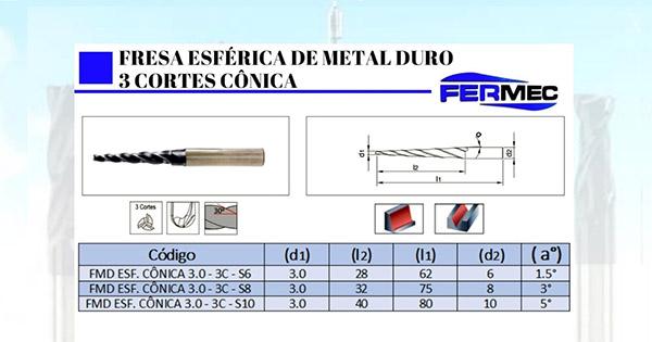 Fresa Cônica Topo Esférico de Metal Duro 3 Cortes