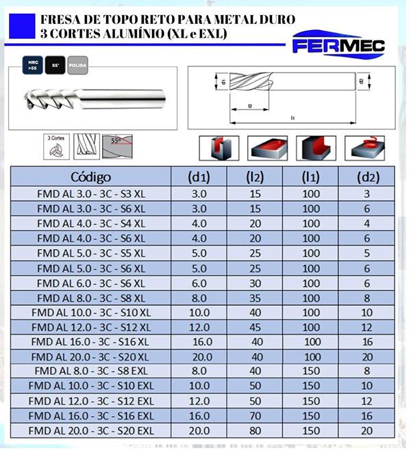 Fresa de Alumínio 3 Cortes XLonga