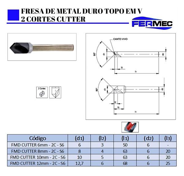 Fresa de Metal Duro Topo em V 2 Cortes Cutter