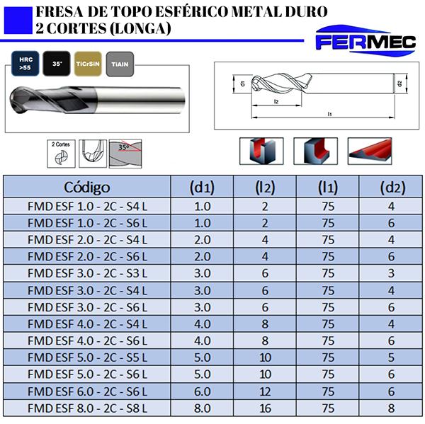 Fresa Topo Esférico de Metal Duro 2 Cortes Longa