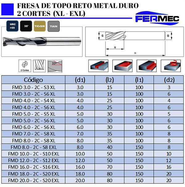 Fresa Topo Reto de Metal Duro 2 Cortes XL