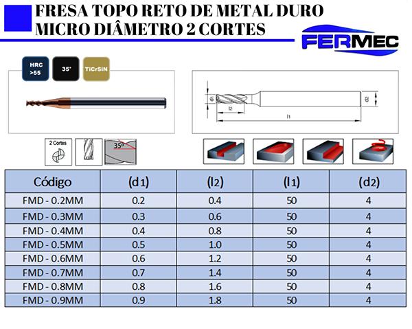 Fresa Topo Reto de Metal Duro Micro Diâmetro 2 Cortes.