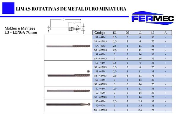 Lima Rotativa de Metal Duro Miniatura