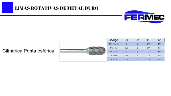 Lima Rotativa Metal Duro Cil. Ponta Esférica Para Alumínio