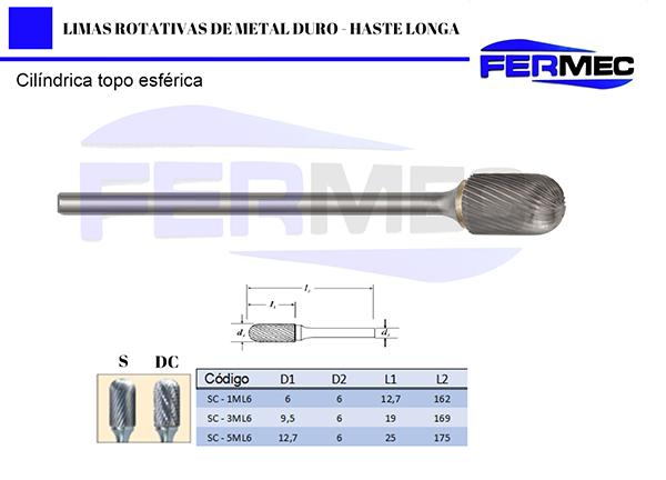 Lima Rotativa Metal Duro Cil. Topo EsféricoHaste Longa