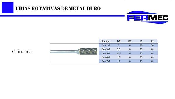 Lima Rotativa Metal Duro Cilindrica Para Alumínio