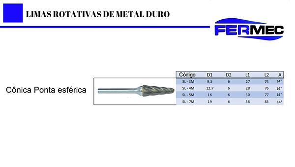 Lima Rotativa Metal Duro Cônica com Ponta Esférica Para Alumínio