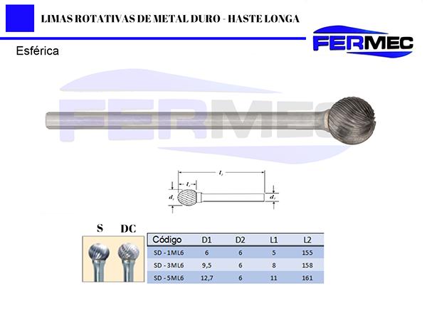 Lima Rotativa Metal Duro Esférica Haste Longa
