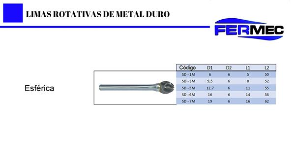Limas Rotativas para Alumínio Titulo:Lima Rotativa Metal Duro Esférica Para Alumínio