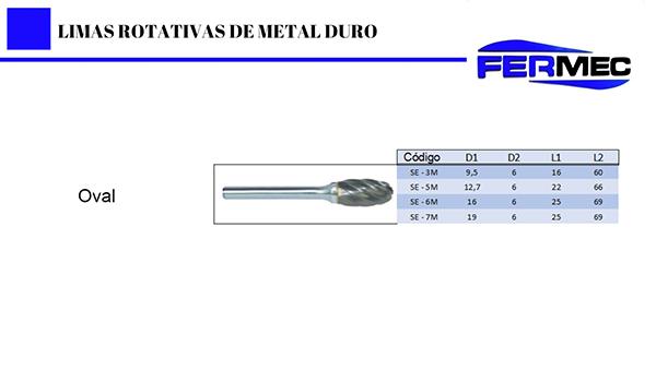 Lima Rotativa Metal Duro Oval Para Alumínio