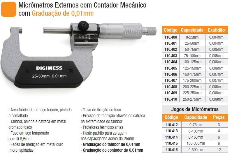 Micrômetros Externos com Contador Mecânico com Graduação de 0,01mm