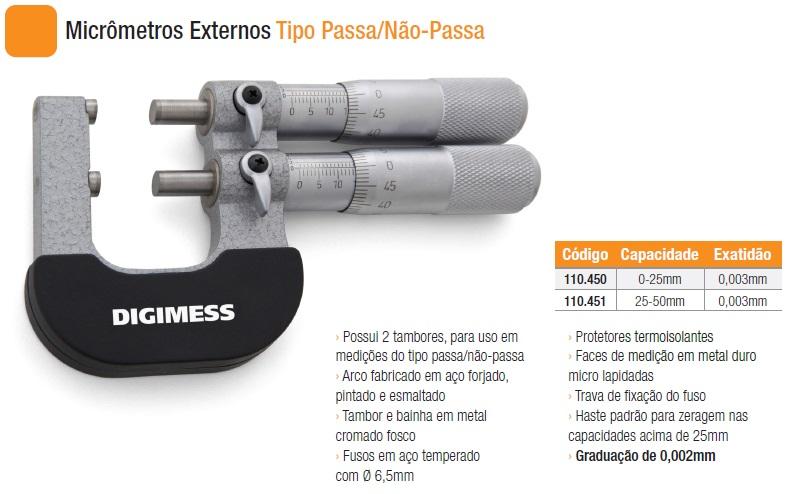 Micrômetros Externos Tipo Passa/Não-Passa