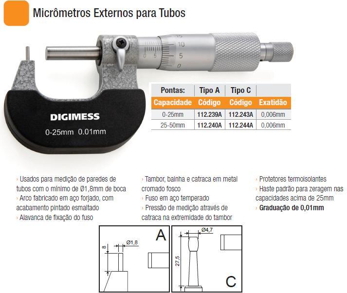 Micrômetros Externos para Tubos