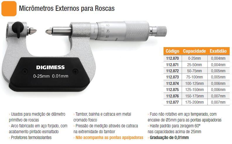 Micrômetros Externos para Roscas
