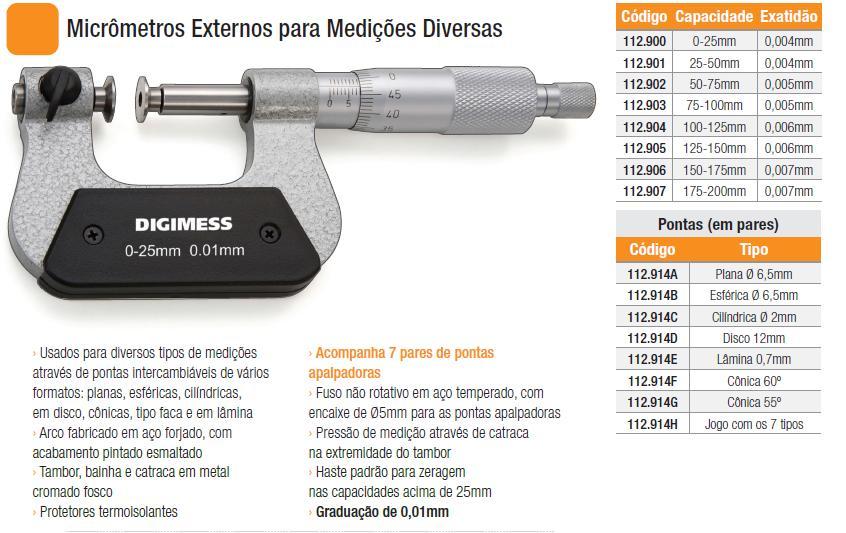 Micrômetros Externos para Medições Diversas