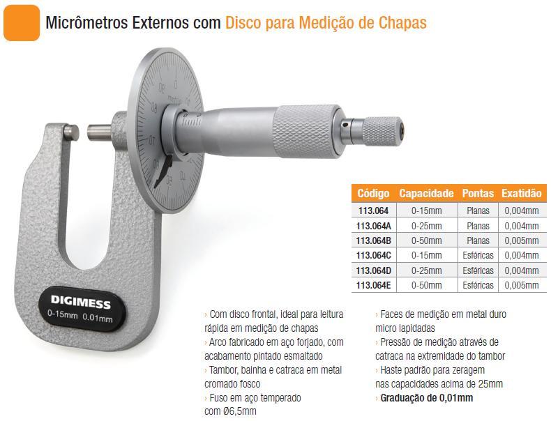Micrômetros Externos com Disco para Medição de Chapas