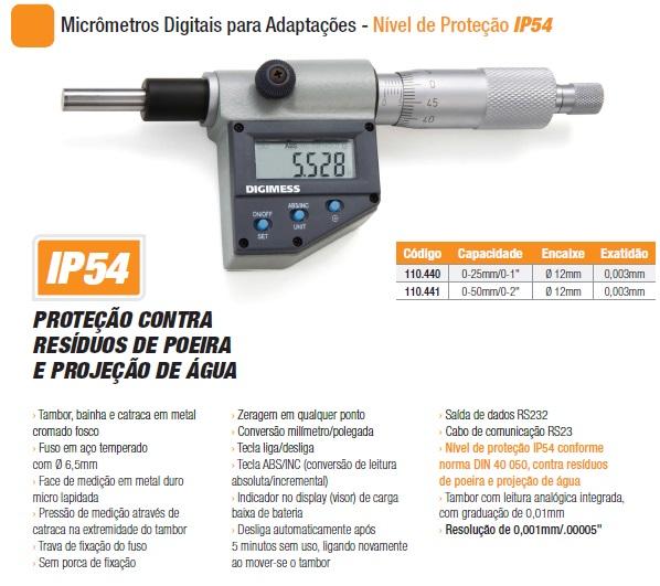 Micrômetros Digitais para Adaptações - Nível de Proteção IP54