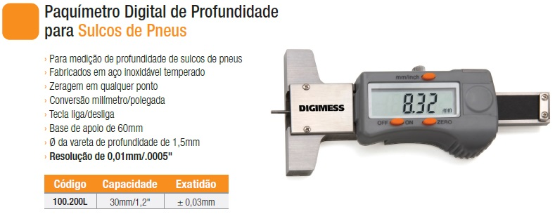Paquímetro Digital de Profundidade para Sulcos de Pneus