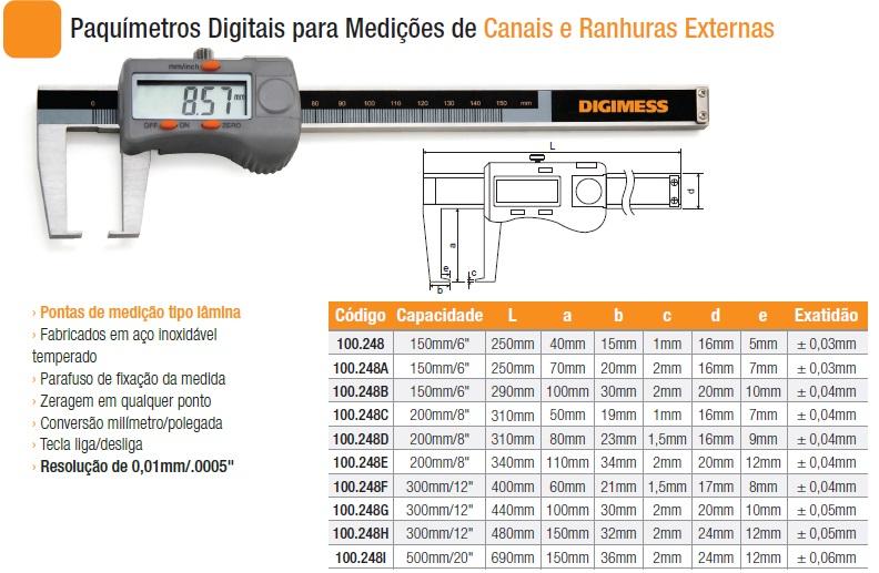 Paquímetros Digitais para Medições de Canais e Ranhuras Externas