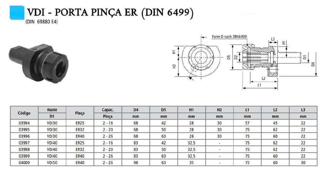 VDI - Porta Pinça ER (DIN 6499)