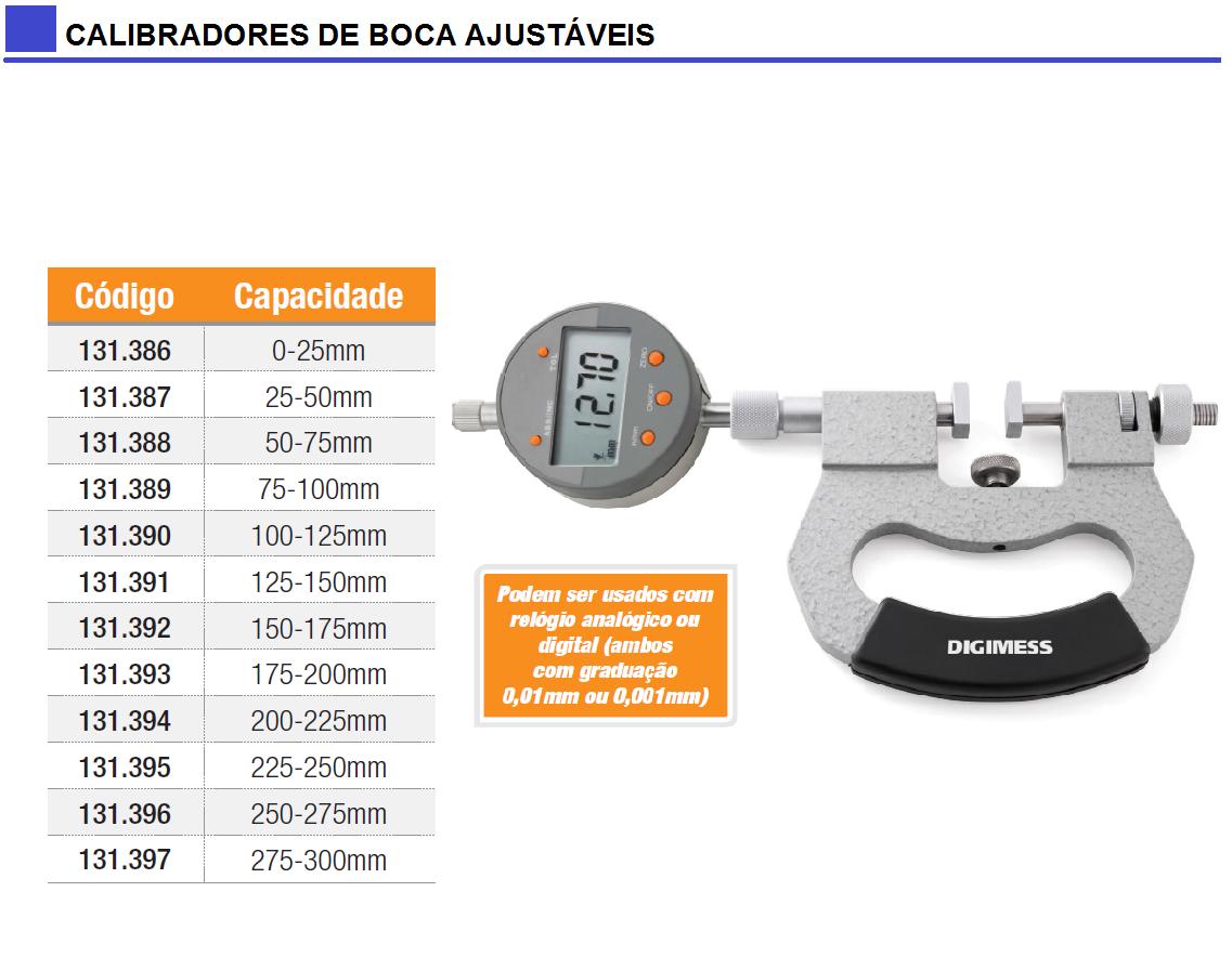 Calibradores de Boca Ajustáveis para Uso com Relógio