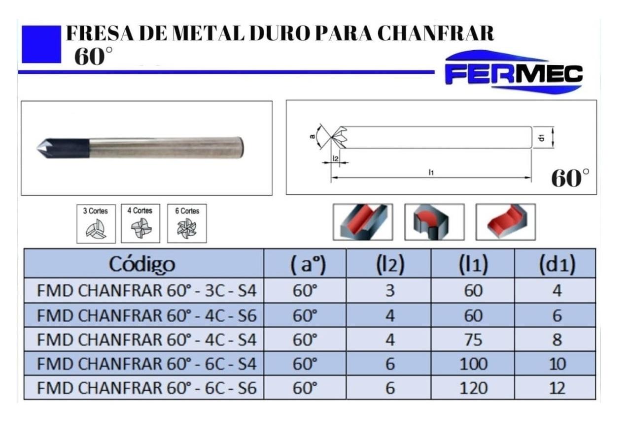 Fresa de Metal Duro Para Chanfrar 60°