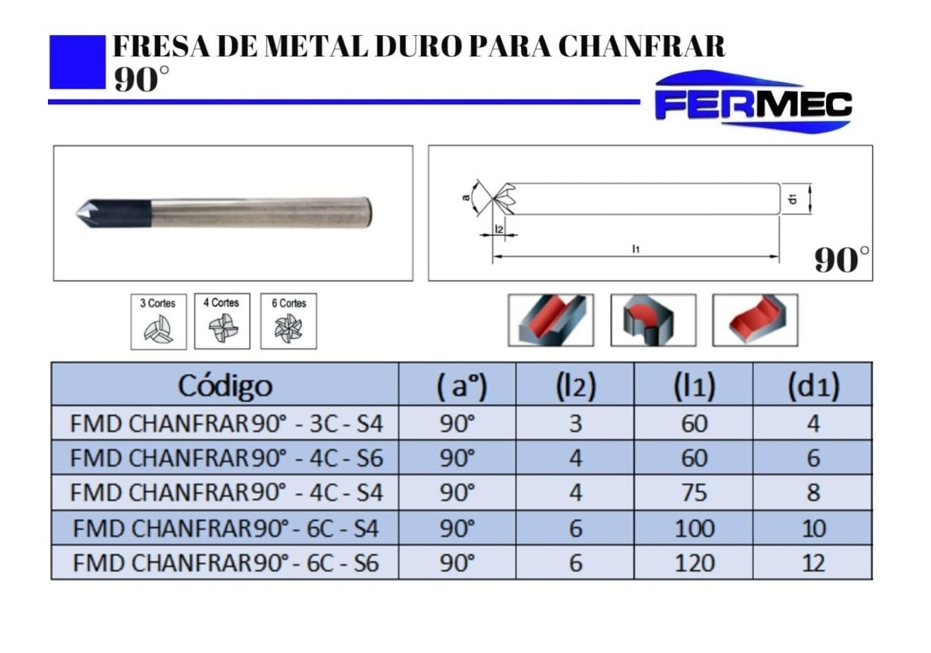 Fresa de Metal Duro Para Chanfrar 90°