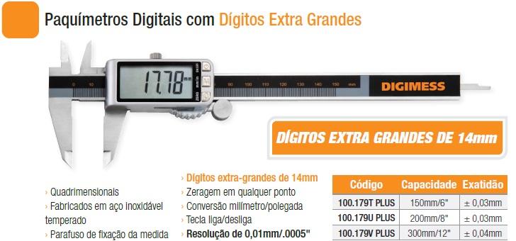 Paquímetros Digitais 100.179T PLUS