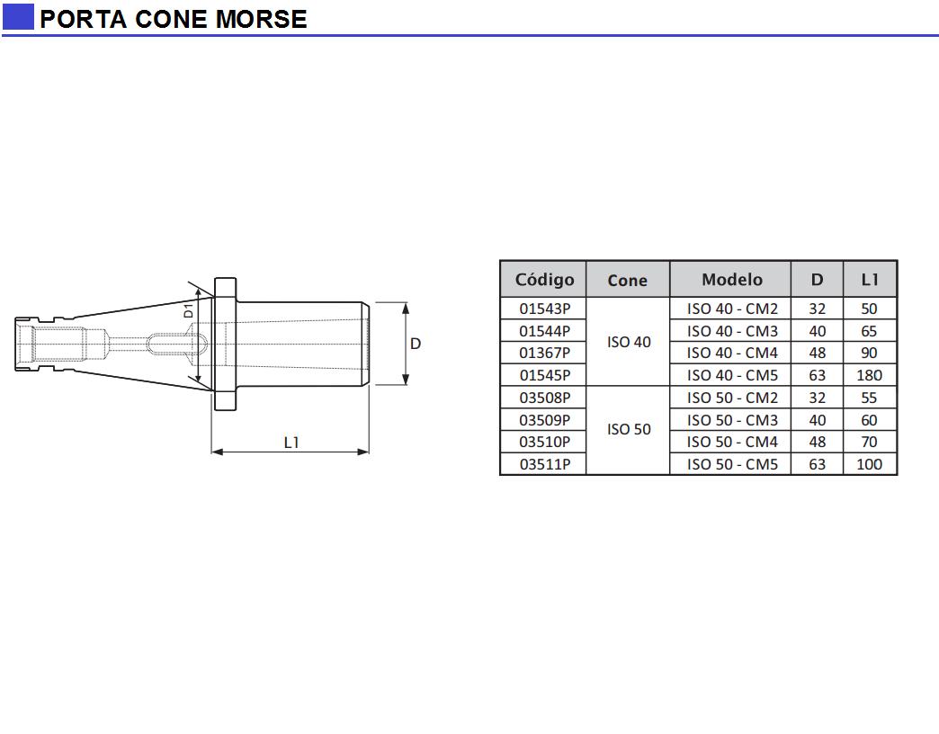 Porta Cone Morse DIN 2080