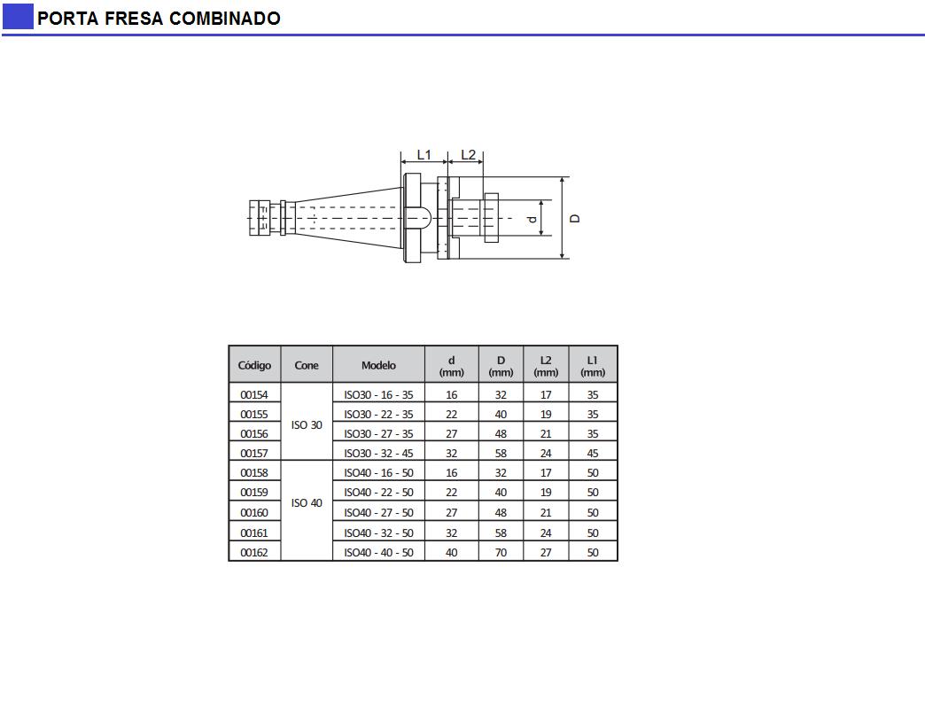 Porta Fresa Combinado DIN 2080 - DIN 6358