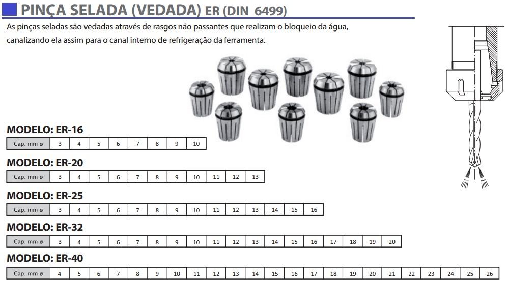 Pinça Vedada e Selada ER (DIN 6499)