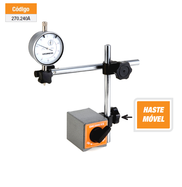 Suporte Magnético para Relógios Comparadores e Apalpadores com Haste Móvel